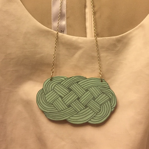 Etsy Jewelry - Hand Painted Wood Knot Necklace with Silver chain