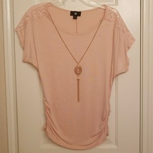 IZ Byer: Blouse w/ lace accent & gold necklace
