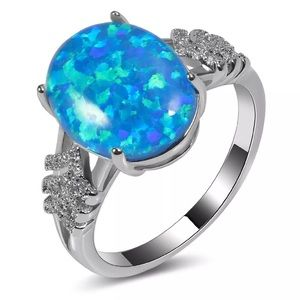 Blue Fire Opal Silver Ring! NEW!