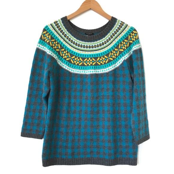 Talbots - Talbots Houndstooth Fair Isle Sweater Medium H1 from ...