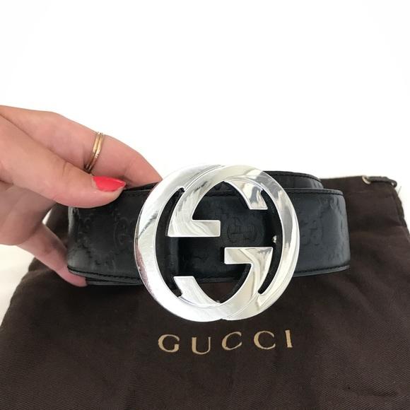 032e36a29fc Gucci Accessories - GUCCI Logo Belt - black with silver