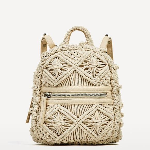 116f36dc8577 NWT Zara macrame mini crochet fabric backpack