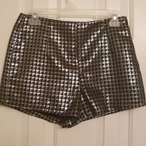 Forever 21: High waisted silver & black shorts