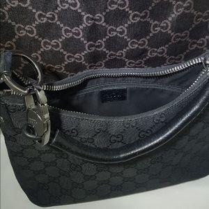 Authentic Gucci Black Canvas Shoulder Bag