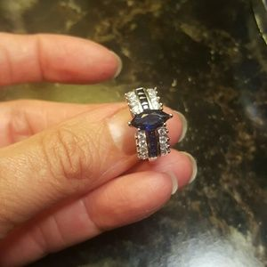 Sterling Silver Blue Diamonique Wedding Ring
