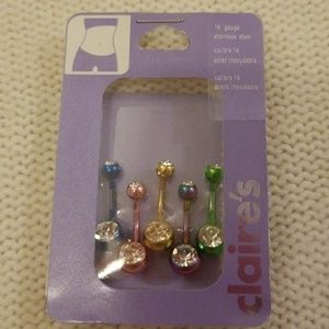 Set of 5 Belly Button Rings - 14 Gauge