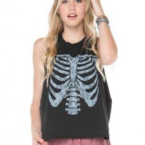 Brandy Melville Kate Skeleton Muscle Tee