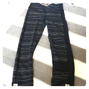 navy & baby blue stripe pants, pockets, & like-new