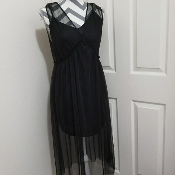 Topshop Dresses Mesh Overlay Dress Black Poshmark
