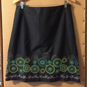 Black Skirt with Green/Silver Flowers by Axcess