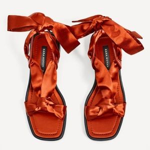 Zara brick colored satin lace-up sandals