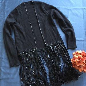 Sweaters - Black leather fringe cardigan