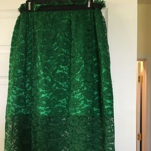 Emerald Green Lace Overlay Skirt