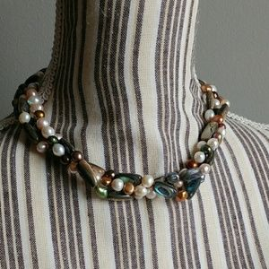 Jewelry - Triple Strand Freshwater Pearl & Abalone Necklace