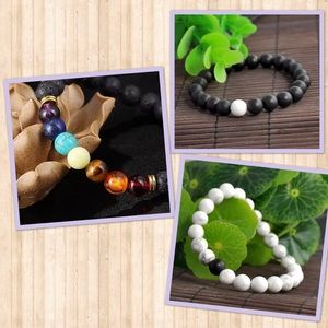 Jewelry - 7 chakra beaded bracelet and 2 yin yang bracelets