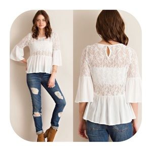 Off-white Lace Ruffle top with Bell Sleeves
