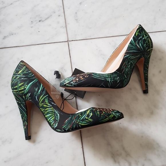 72ddf5cd1e7e Zara Leather Tropical Pineapple Palm Heels