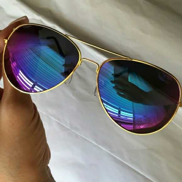 51e8764989 Aviator Gold frame Purple lens sunglasses