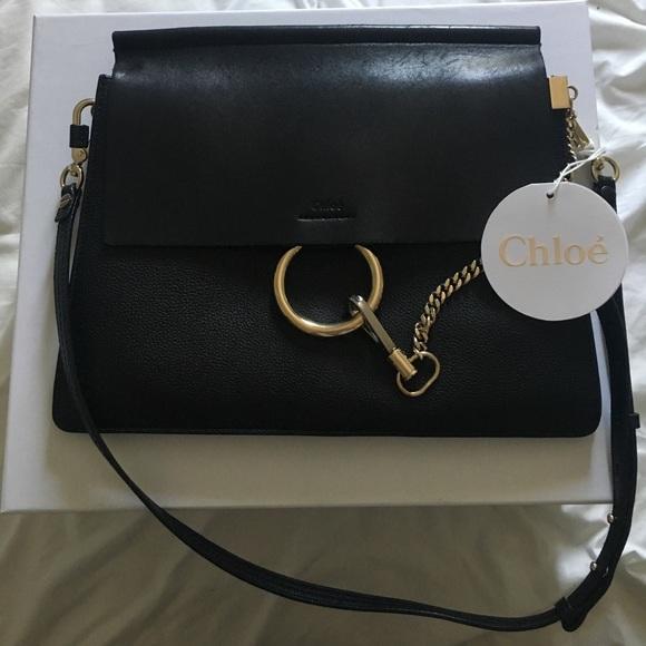 698967fdb8 Chloe Faye Medium Black Leather Bag
