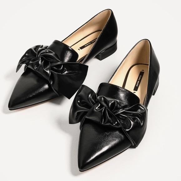 bd8916e95f5 Zara Black Bow Shoes