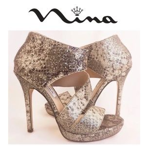 Brand New Nina Metallic Snake Print Pumps