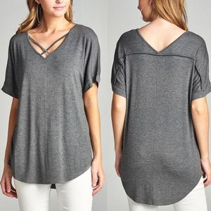 V-Neck Criss Cross Top - CHARCOAL