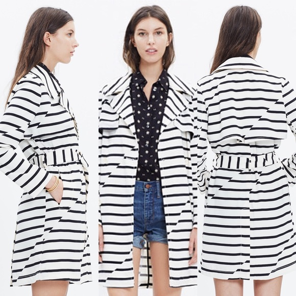 Madewell Jackets & Blazers - 🎉2x HP🎉 Madewell striped parcel trench coat