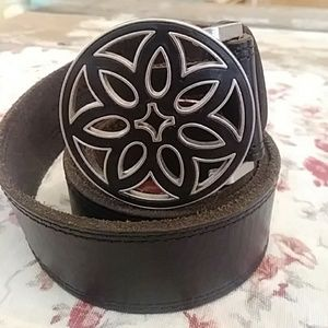 SALE🍁Leather Inlay BUCKLE🍁w/Leather belt