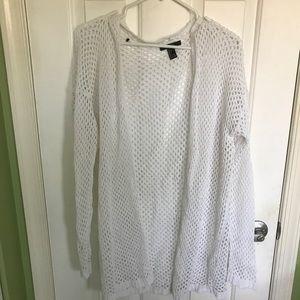 """White """"holey"""" long sleeve cardigan"""