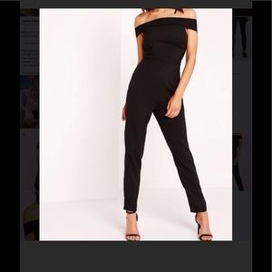 NWOT Misguided Crepe Bardot Jumpsuit in black