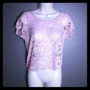NWoT Wet Seal Pink Lace Sheer Crop Top