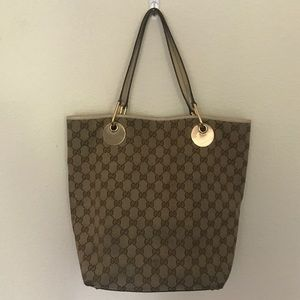 Gucci signature canvas monogram tote bag handbag