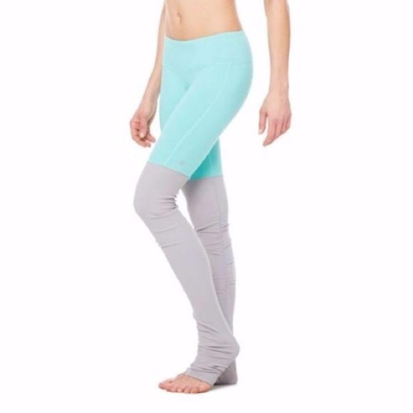 94f5e5ff43667d ALO Yoga Pants - ALO YOGA GODDESS LEGGING TURQUOISE / LIGHT GREY