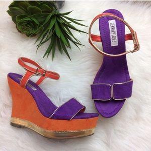 Jennifer Lopez Womens Platform PURPLE ORANGE GOLD Wedge High Heels Shoes SIZE 10