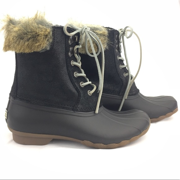 Rubber Ankle Duck Boots Fur Leather