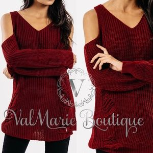 Deep Red Distressed Cold Shoulder Sweater
