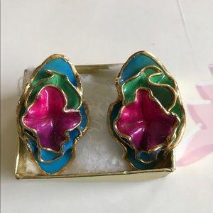 Vintage 80's Lacombe wearable art earrings.