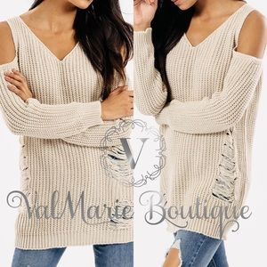 Stone Distressed Cold Shoulder Sweater