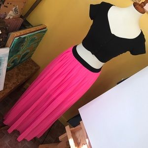 Dresses & Skirts - Hot Pink Pleated Maxi Skirt