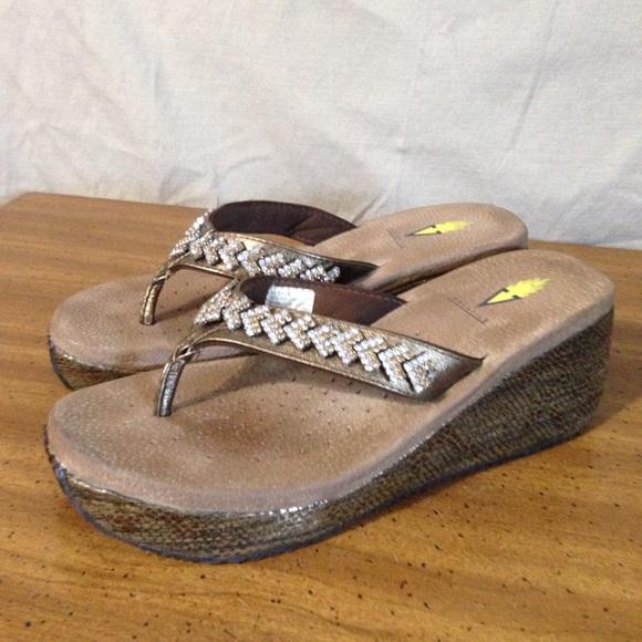 38e8f0083f Volatile Leather   Rhinestone Wedge Flip Flops. M 5995f31b7fab3af36c03c5e8