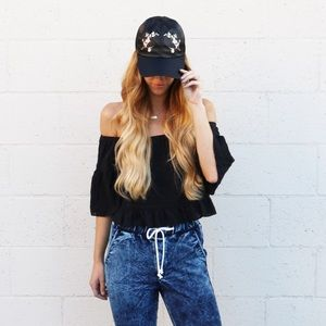 floral embroidered hat
