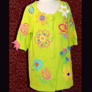 CERVELLE green embroidered short sleeve sweater L
