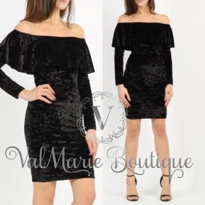 Gorgeous Crushed Velvet Bardot Frill Dress
