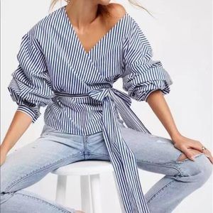Tops - Blue & White Striped Puff Sleeve Wrap Top