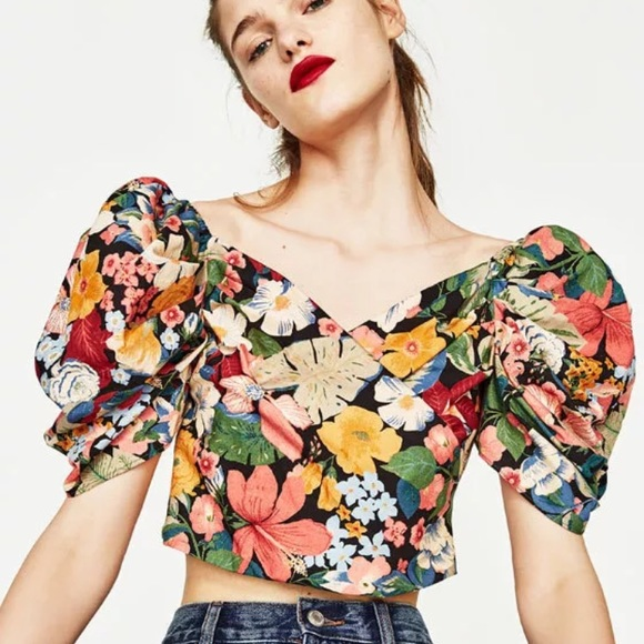 ZARA Floral Full Sleeve Top Sz Small