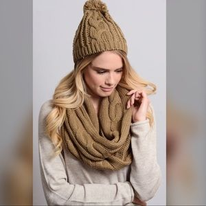 Accessories - Cable Knit Pom Pom Beanie and Scarf Set