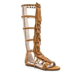 New! Alice & Olivia Paula Fringe Gladiator Sandals
