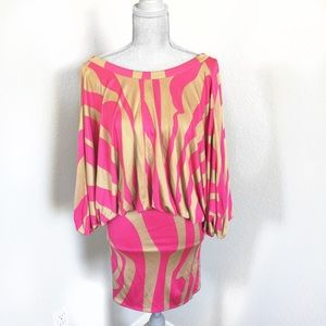 ISSA London Dress 100% Silk Size 2 Pink and Tan