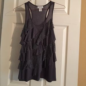 Pacsun Kirra Ruffled Dark Grey Tank