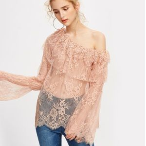 🆕Sia Blush Bell Sleeve Off the Shoulder Top